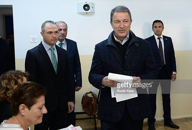 Turkish Army Chief of Staff General Hulusi Akar casts his vote at a polling station during a general election on November 1 in Ankara Turkey Polls...