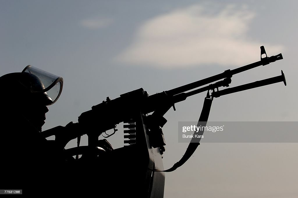 Turkish army commandos patrol the area near the TurkeyIraq border on October 27 2007 in the Uludere district of Sirnak province Turkey Tens of...