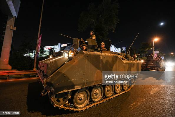 Turkish Armys APC's move in the main streets in the early morning hours of July 16 2016 in Istanbul Turkey Istanbul's bridges across the Bosphorus...