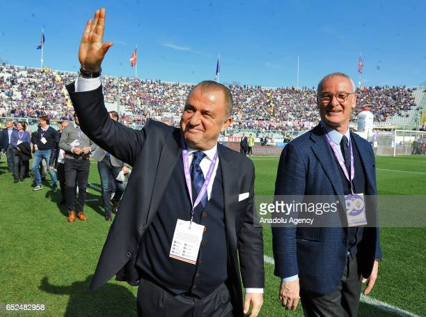 Turkish association football manager Fatih Terim and Italian football manager Claudio Ranieri attend a celebration at the Artemio Franchi Stadium on...