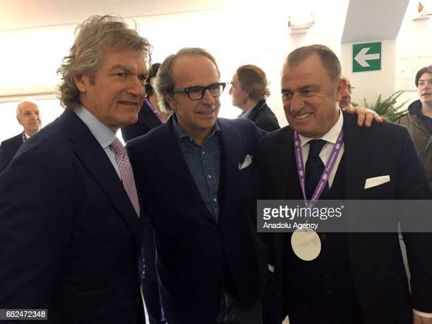 Turkish association football manager Fatih Terim meets the coowner of the ACF Fiorentina football team Andrea Della Valle and Manager of ACF...