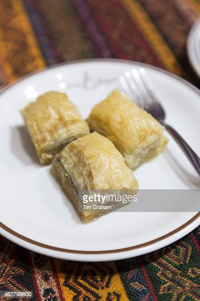 Turkish baklava honey covered filo pastry in cafe in The Grand Bazaar Kapalicarsi great market Istanbul Turkey