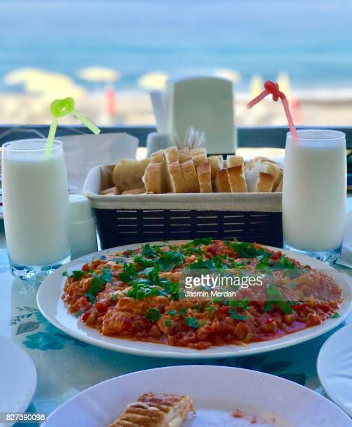 Turkish breakfast served on table