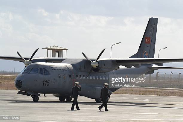 Turkish cargo plane which carries the body of a Russian pilot who lost his life after Russian warplane violating Turkish air space was downed is seen...