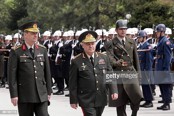 Turkish Chief of Staff General Ilker Basbug and Azerbaijan�s Defense Minister General Safar Abiyev inspect a guard of honour in Ankara on April 24...