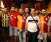 Turkish clubs 'Galatasaray Fenerbahce and Besiktas' fans gather at Istiklal street during a demonstration staged to protest and to show solidarity...