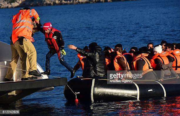Turkish Coast guards rescue Syrian refugees after total of 50 refugees captured by Turkish coast guard while they were illegally trying to reach...
