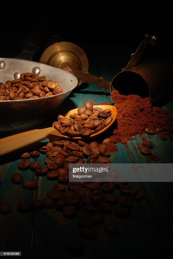 Turkish coffee and girinder : Stock Photo