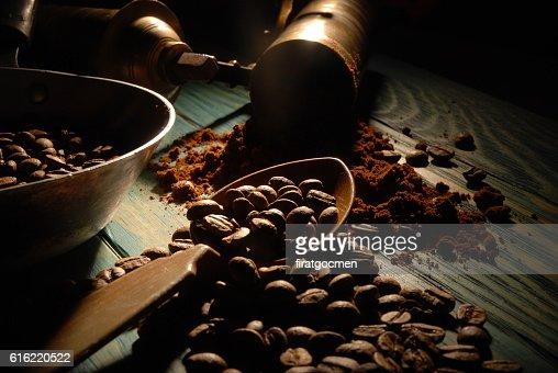 Turkish coffee and girinder : Stock Photo