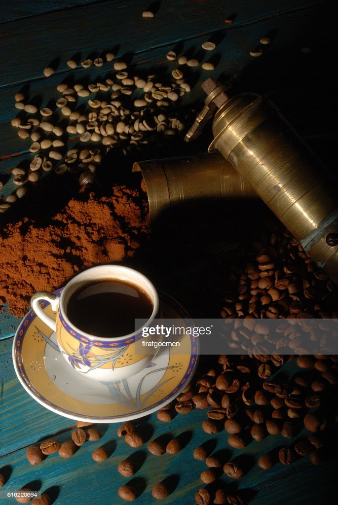 Turkish coffee and girinder with cup : Stock Photo