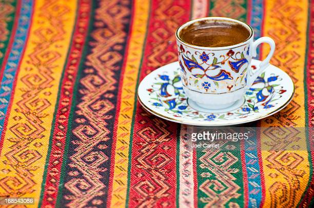 Turkish coffee on table in Istanbul Turkey