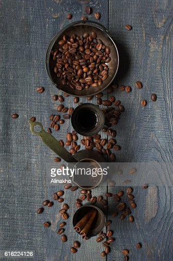 Turkish coffee on the old wooden table : Stock Photo