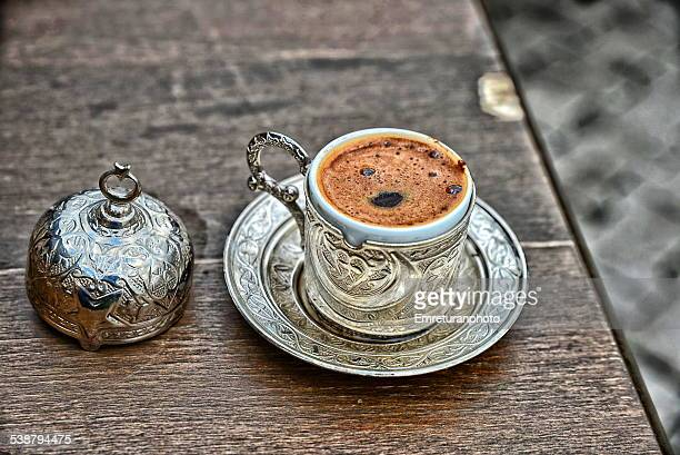 turkish coffee served in metal cup