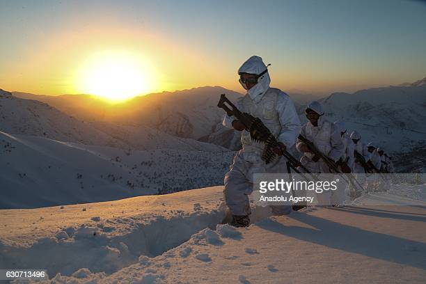 Turkish commandos who play active role in fighting against terrorist organization PKK in the eastern provinces keep watch during the new year's eve...