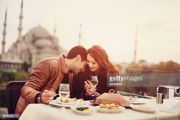 Pareja en café turco