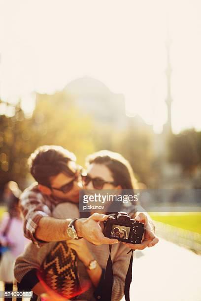 Turkish Couple Taking Selfie