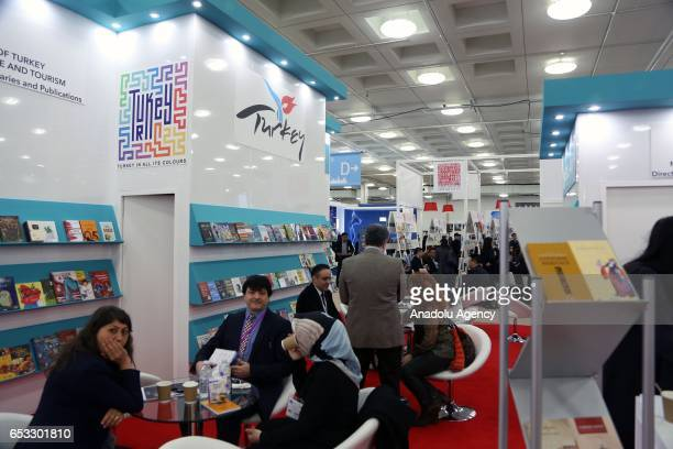 Turkish Culture and Tourism Ministry's booth is seen at the Olympia Fair Center during the 46th London Book Fair the global marketplace for rights...