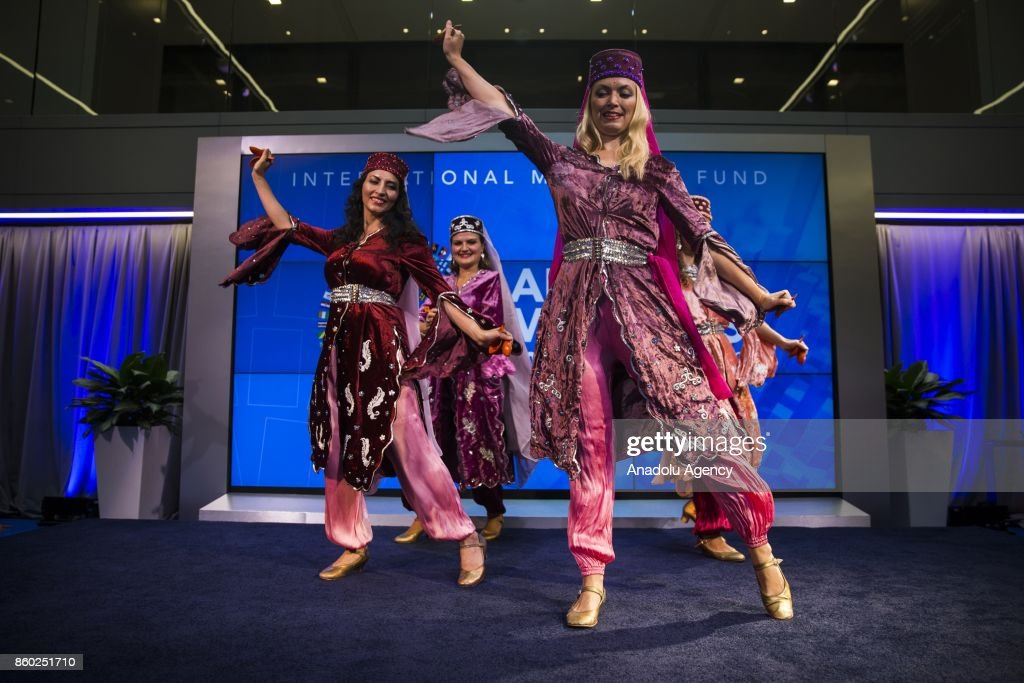 Turkish dancers perform during the World Bank and IMF annual meetings in Washington, United States on October 11, 2017.