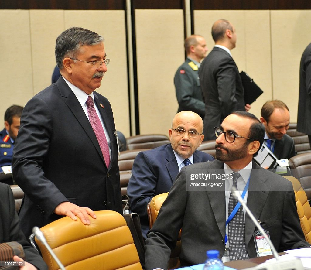 Turkish Defence Minister Ismet Yilmaz (left) attends the anti-Daesh coalition conference at NATO headquarters in Brussels, Belgium on February 11, 2016. The counter-Deash defense ministers conference, in Brussels, comprises 27 nations, including the United States, that provide force contributions to the counter-Daesh campaign.