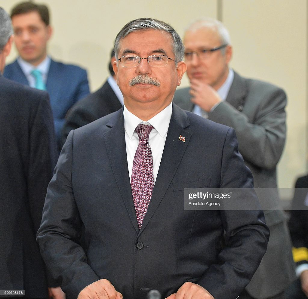 Turkish Defence Minister Ismet Yilmaz attends the NATO Defence Ministers Meeting which is being held in Brussels, Belgium on February 11, 2016.