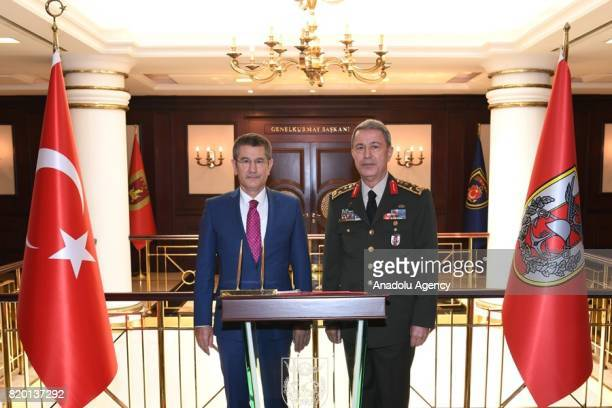 Turkish Defense Minister Nurettin Canikli meets with Chief of the General Staff of the Turkish Armed Forces Hulusi Akar in Ankara Turkey on July 21...