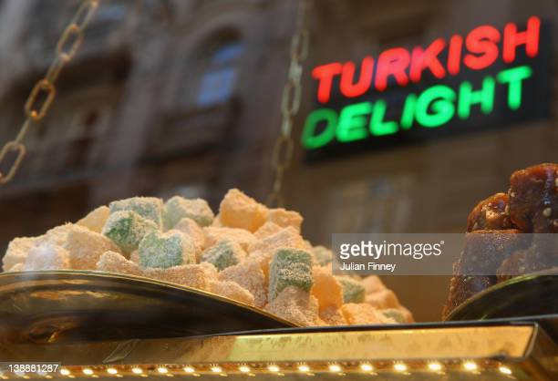 Turkish Delight is advertised in a shop window on October 23 2011 in Istanbul Turkey