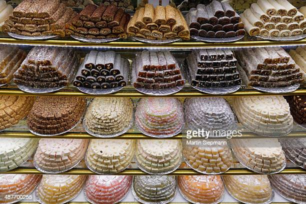 Turkish delight or Lokum and other sweets on display, Fethiye, Mugla Province, Aegean, Turkey