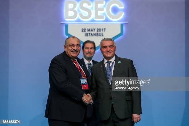 Turkish Deputy PM Tugrul Turkes shakes hands with Armenian Deputy Minister of Foreign Affairs Ashot Hovakimian during the Organization of the Black...