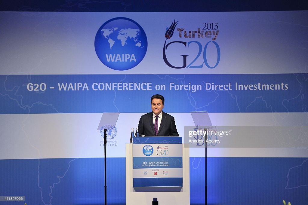 Turkish Deputy Prime Minister <a gi-track='captionPersonalityLinkClicked' href=/galleries/search?phrase=Ali+Babacan&family=editorial&specificpeople=612964 ng-click='$event.stopPropagation()'>Ali Babacan</a> delivers his speech at the G 20 Foreign Direct Investment Conference of World Association of Investment Promotion Agencies (WAIPA) in Istanbul, Turkey on April 27, 2015.
