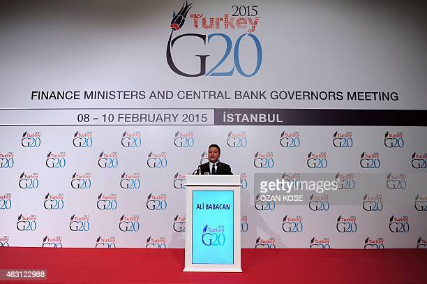 Turkish Deputy Prime Minister Ali Babacan gives an address as part of the G20 Finance Ministers and Central Bank Governors meeting on Feburary 10...
