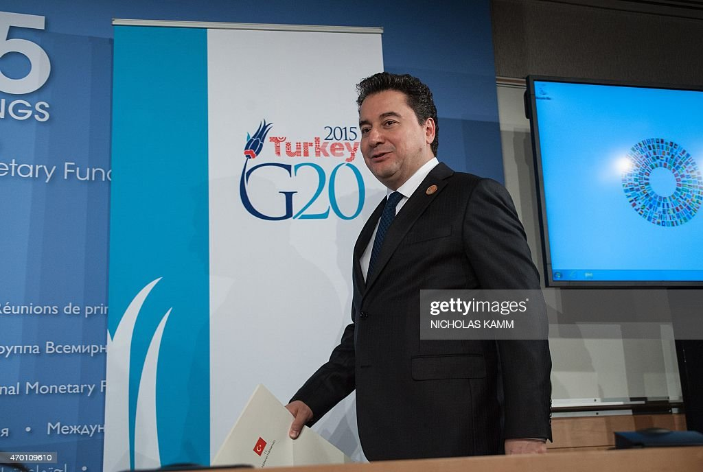 Turkish Deputy Prime Minister in charge of the economy <a gi-track='captionPersonalityLinkClicked' href=/galleries/search?phrase=Ali+Babacan&family=editorial&specificpeople=612964 ng-click='$event.stopPropagation()'>Ali Babacan</a> arrives for the G20 press conference at the IMF/WB Spring Meetings in Washington, DC, on April 17, 2015. Turkey will host this year's G20 summit.