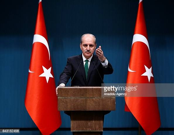Turkish Deputy Prime Minister Numan Kurtulmus gives a speech during a press conference as the cabinet meeting continues in Ankara Turkey on February...