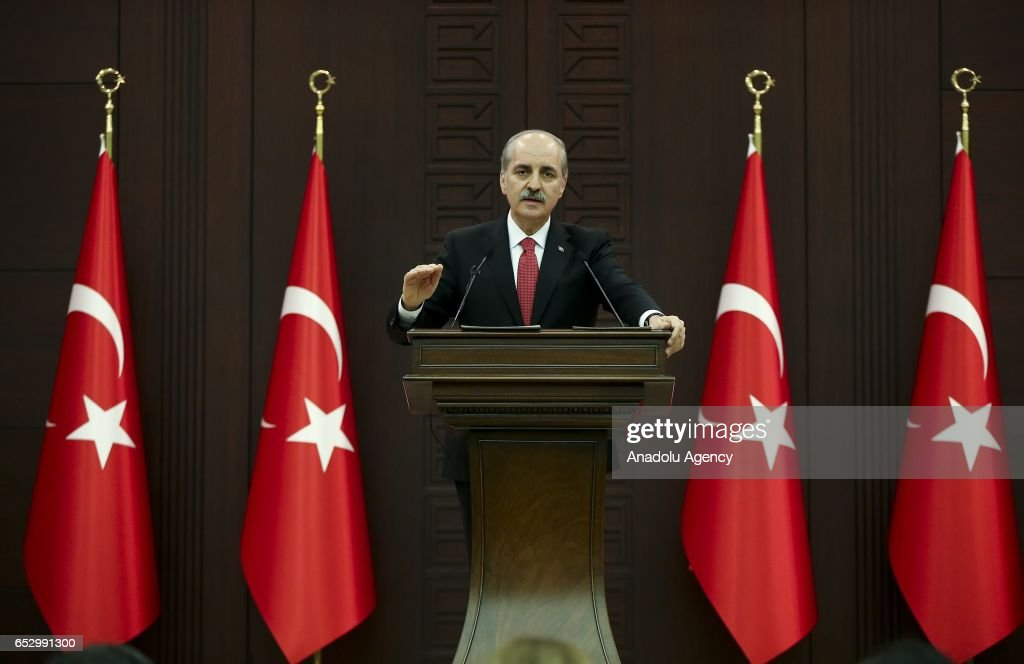 Turkish Deputy PM Kurtulmus speaks to press in Ankara