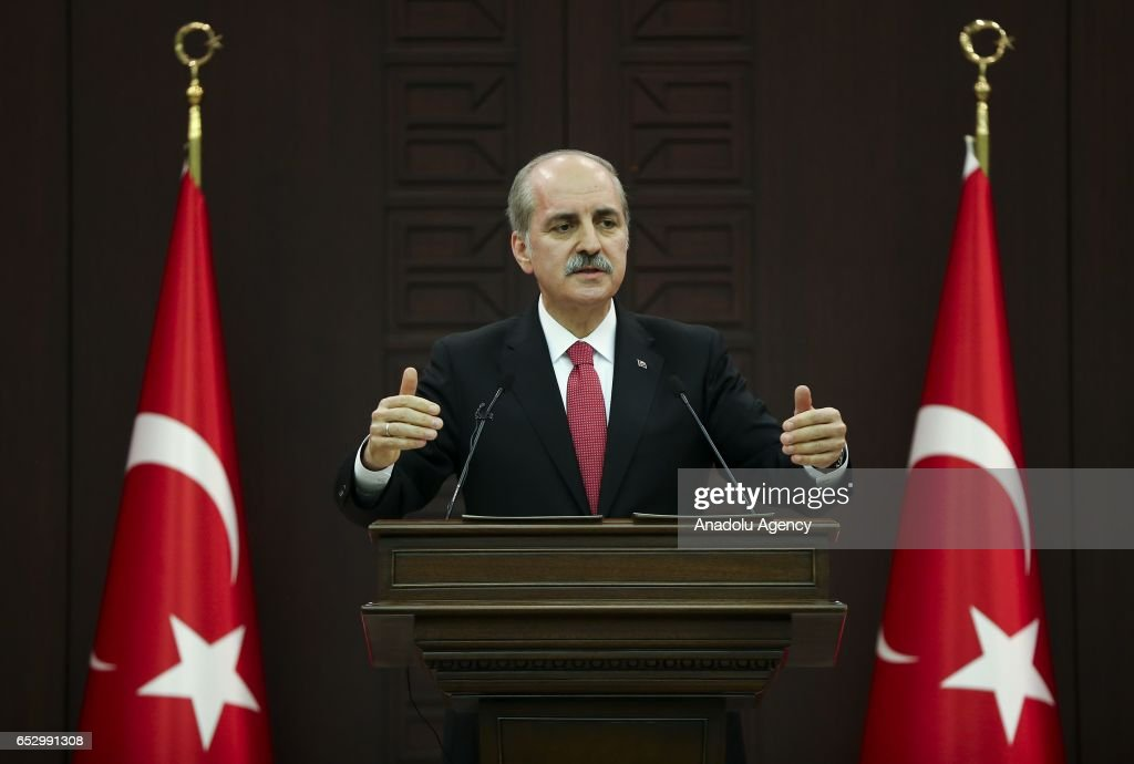 Turkish Deputy Prime Minister Numan Kurtulmus gives a speech during a press conference after the cabinet meeting in Ankara, Turkey on March 13, 2017.