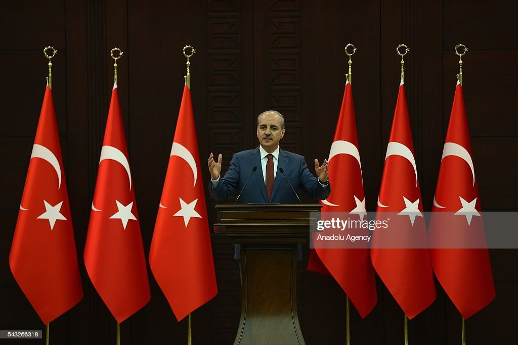 Turkish Deputy Prime Minister Numan Kurtulmus speaks to press as council of ministers meeting continues at Cankaya Palace in Ankara, Turkey on June 27, 2016.
