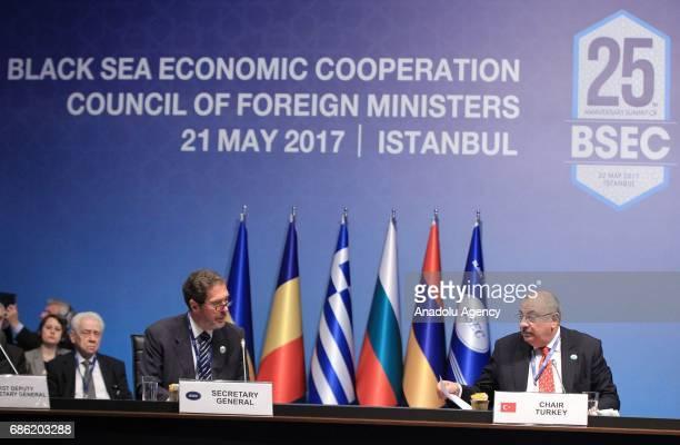 Turkish Deputy Prime Minister Tugrul Turkes and Secretary general of the Black Sea Economic Cooperation Organization Michael Christides attend the...