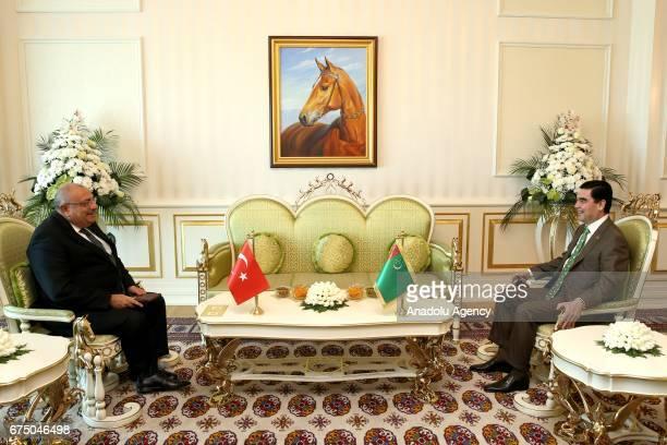 Turkish Deputy Prime Minister Tugrul Turkes meets with President of Turkmenistan Gurbanguly Berdimuhamedov during his visit in Ashgabat Turkmenistan...