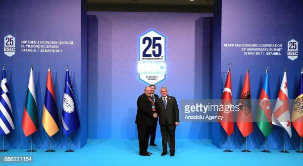 Turkish Deputy Prime Minister Tugrul Turkes shakes hands with Armenian Deputy Minister of Foreign Affairs Ashot Hovakimian during the Organization of...