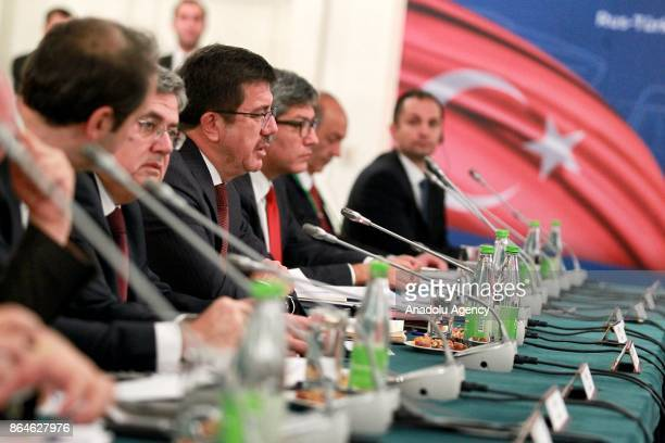 Turkish Economy Minister Nihat Zeybekci and Russian Energy Minister Aleksander Novak attend TurkishRussian Intergovernmental Joint Economic...