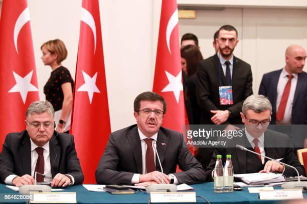 Turkish Economy Minister Nihat Zeybekci and Russian Energy Minister Aleksander Novak attend the TurkishRussian Intergovernmental Joint Economic...