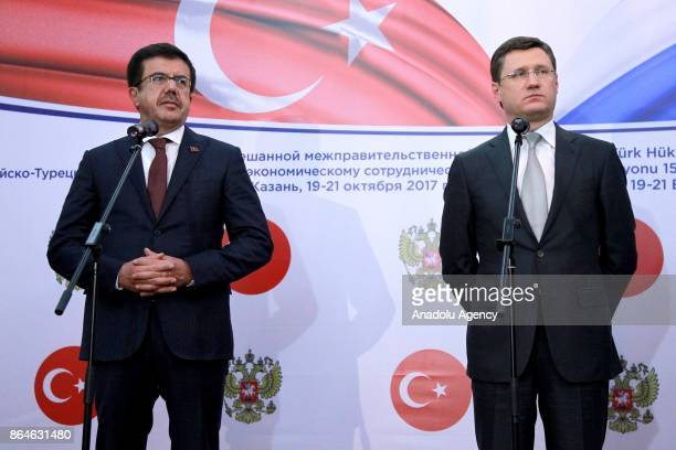 Turkish Economy Minister Nihat Zeybekci and Russian Energy Minister Aleksander Novak hold a joint press conference following their meeting the 15th...