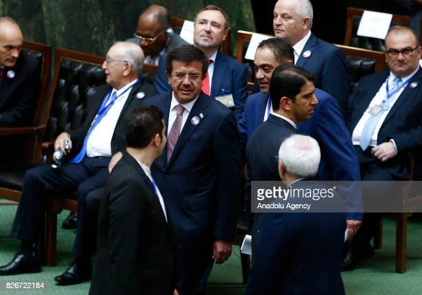 Turkish Economy Minister Nihat Zeybekci attends the President of Iran Hassan Rouhani's swearing in ceremony for his second fouryear term of...