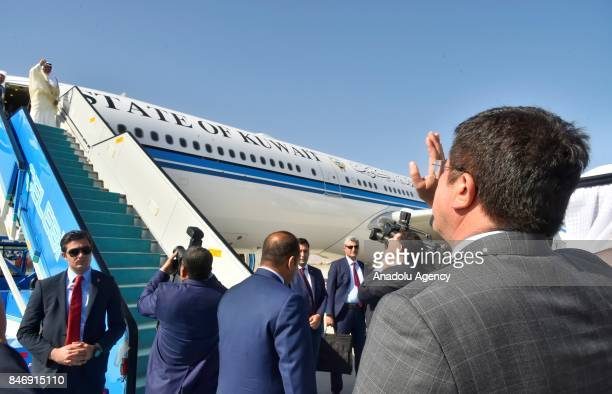 Turkish Economy Minister Nihat Zeybekci bids farewell to Prime Minister of Kuwait Sheikh Jaber AlMubarak AlHamad AlSabah at Esenboga International...