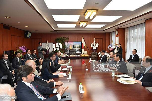 Turkish Economy Minister Nihat Zeybekci meets with Koya Nishikawa Japan's Minister of Agriculture Forestry and Fisheries in Tokyo Japan on October 9...
