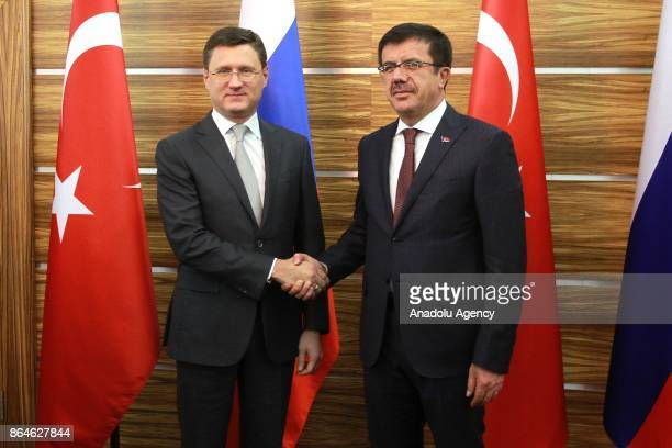 Turkish Economy Minister Nihat Zeybekci meets with Russian Energy Minister Aleksander Novak before the 15th TurkishRussian Intergovernmental Joint...