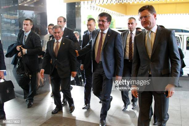 Turkish Economy Minister Nihat Zeybekci Russian Energy Minister Aleksander Novak and President of the Republic of Tatarstan Rustam Minnikhanov arrive...