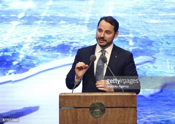 Turkish Energy and Natural Resources Minister Berat Albayrak gives a speech during a mass inauguration ceremony organized for the varied electricity...