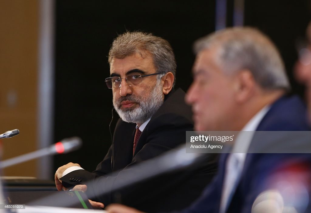 Turkish Energy Minister <a gi-track='captionPersonalityLinkClicked' href=/galleries/search?phrase=Taner+Yildiz&family=editorial&specificpeople=5871509 ng-click='$event.stopPropagation()'>Taner Yildiz</a> (L) and Azerbaijani Energy Minister Natig Aliyev are seen during Turkey-Azerbaijan advisory board meeting on the Southern Gas Corridor in Baku, Azerbaijan on February 12, 2015.