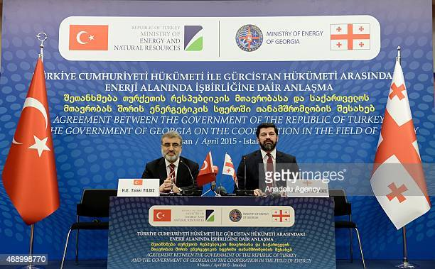 Turkish Energy Minister Taner Yildiz and Georgian Deputy Prime Minister and Energy Minister Kakha Kaladze attend the ceremony of signing of agreement...