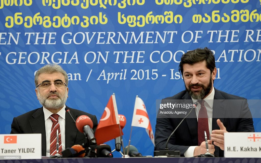 Turkish Energy Minister <a gi-track='captionPersonalityLinkClicked' href=/galleries/search?phrase=Taner+Yildiz&family=editorial&specificpeople=5871509 ng-click='$event.stopPropagation()'>Taner Yildiz</a> (L) and Georgian Deputy Prime Minister and Energy Minister <a gi-track='captionPersonalityLinkClicked' href=/galleries/search?phrase=Kakha+Kaladze&family=editorial&specificpeople=646904 ng-click='$event.stopPropagation()'>Kakha Kaladze</a> (R) attend the ceremony of signing of agreement on cooperation in field of energy between Turkey and Georgia on April 9, 2015 in Istanbul, Turkey.
